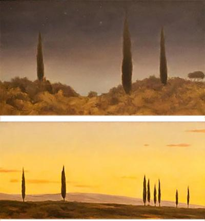Set of 2 Tuscan Landscape Oil Paintings by Daniel Murri