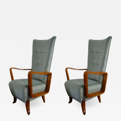Set of 2 armchairs in light blue velvet from 50s italian production