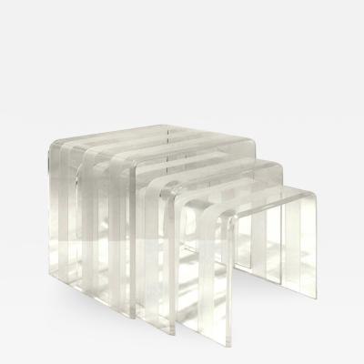 Set of 3 Chic Lucite Nesting Tables 1970s
