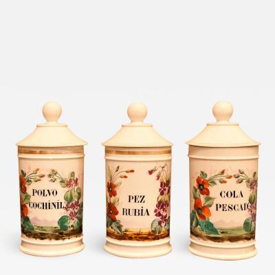Set of 3 Porcelain Apothecary Jars Circa 1820 Paris
