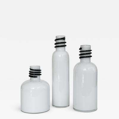 Set of 3 White Cased Glass Vases Bottles by Tarnowiec