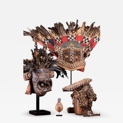 Set of 3 feathered tribal masks DRC