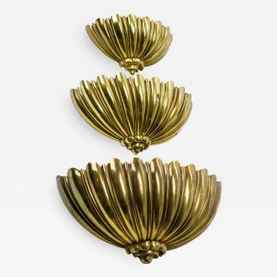 Set of 3 gold shell American superposable sconces