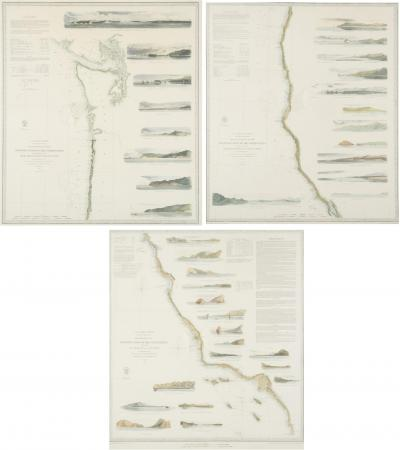 Set of 3 original mid 19th c maritime charts of the West Coast of the U S