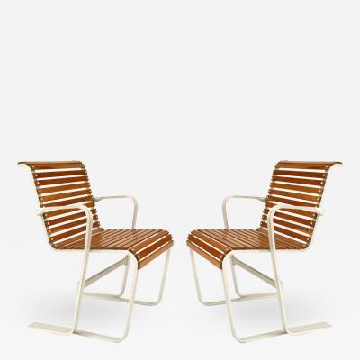 Set of 4 Art Moderne Aluminum Arm Chairs