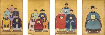 Set of 4 Chinese Ancestral Portraits 19th Century China