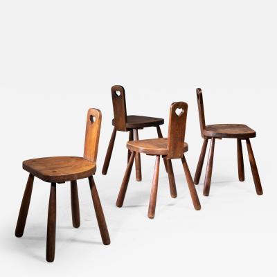 Set of 4 Danish folk art side chairs in oak