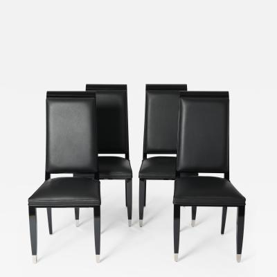 Set of 4 French Black Lacquered Art D co Dining Room Chairs