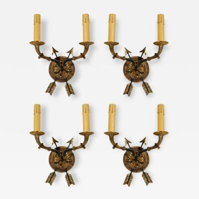 Set of 4 French Bronze Arrows Sconces
