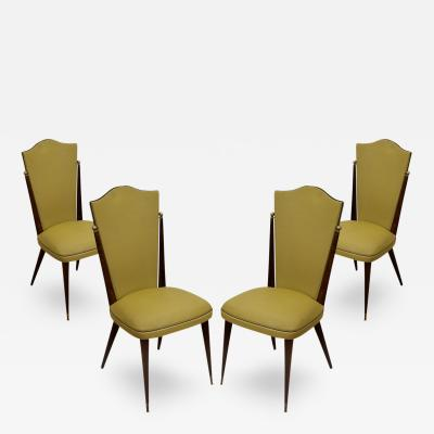 Set of 4 French Deco Dining Chairs in Ebony with Ball Ornament