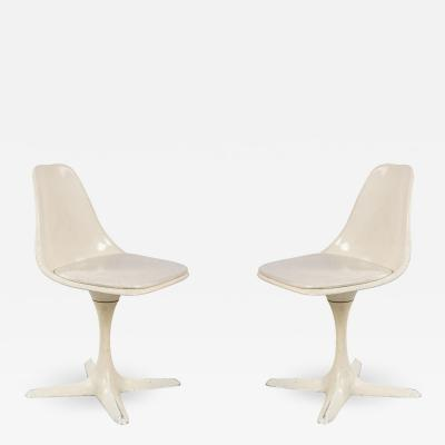 Set of 4 Mid Century White Tulip Side Chairs