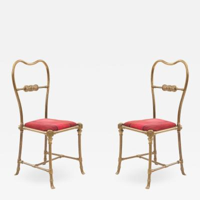 Set of 4 Outdoor French Victorian Brass Side Chairs