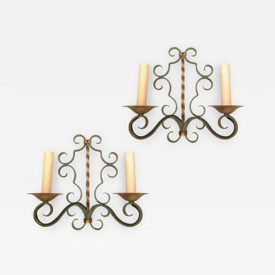 Set of 4 Painted Iron Sconces