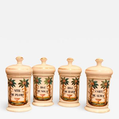 Set of 4 Porcelain Apothecary Jars Circa 1820 Paris
