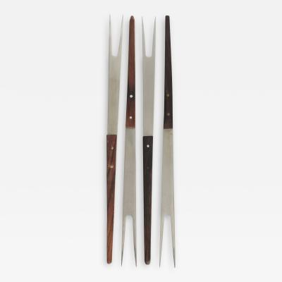 Set of 4 Swiss fondue forks rosewood 60s