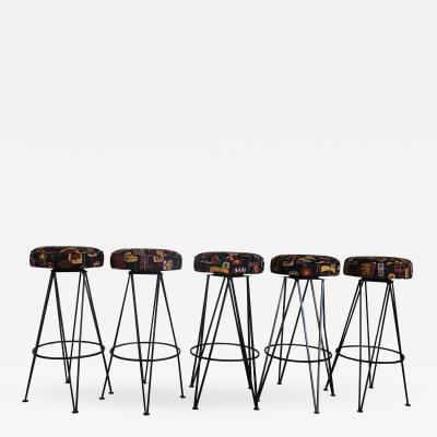 Set of 5 Bar Stools with New Tiki Upholstery and Swivel Seats