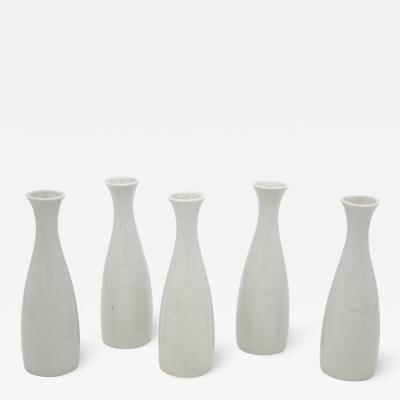 Set of 5 Modern White Ceramic Bud Vases