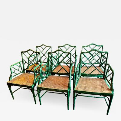 Set of 6 Chinese Chippendale Faux Bamboo Arm Chairs