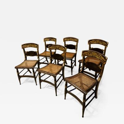 Set of 6 Classical Painted Fancy Chairs Circa 1825 Mid Atlantic