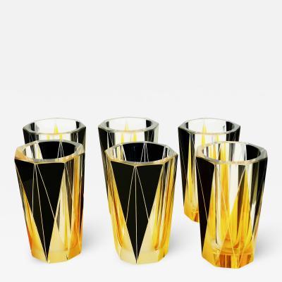 Set of 6 Enameled Etched Art Deco Glasses
