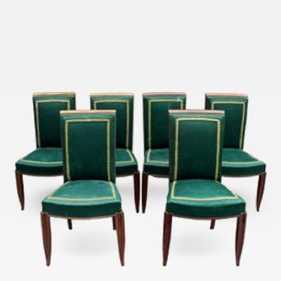 Set of 6 Fine French Art Deco Oak Dining Chairs