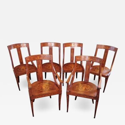 Set of 6 French Empire Marquetry Chairs