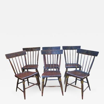 Set of 6 Paint Decorated Chairs