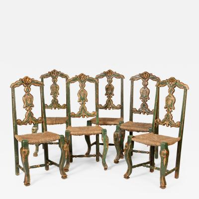 Set of 6 Painted and Silver Leafed Dining Room Chairs
