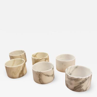 Set of 6 Short Carrara Marble Glasses Italy