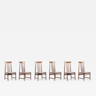 Set of 6 Spindle Back Dining Chairs Denmark 1960s