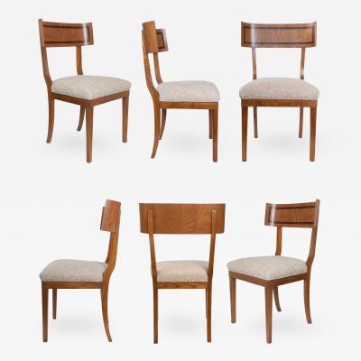 Set of 6 Swedish Art Deco Klismos Chairs in Elm