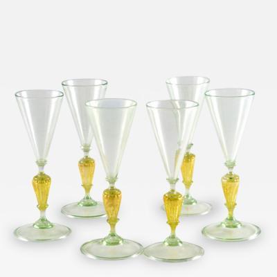Set of 6 Venetian Morano Glass Aperitifs