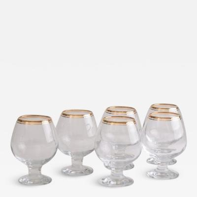 Set of 6 Vintage Gold Rimmed Brandy Glasses c 1960