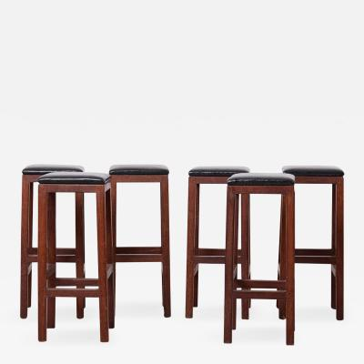 Set of 6 Wood and Leather Barstools
