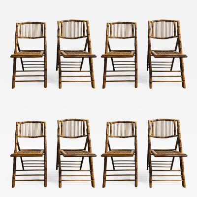 Set of 8 Bamboo Folding Chairs