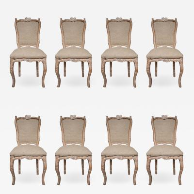 Set of 8 Carved Wood and Indian silk Fabric chairs Italy