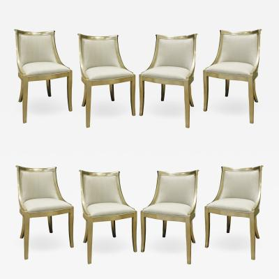 Set of 8 Chic Barrel Back Dining Chairs With Silver Leaf Frames 1970s