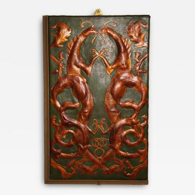 Set of 8 Chinoiserie Leather Valence Panels
