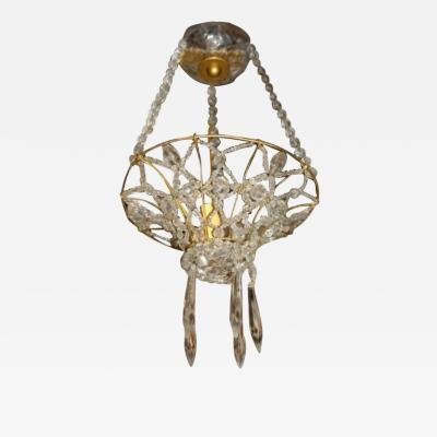 Set of 8 Crystal Basket Shaped Light Fixtures