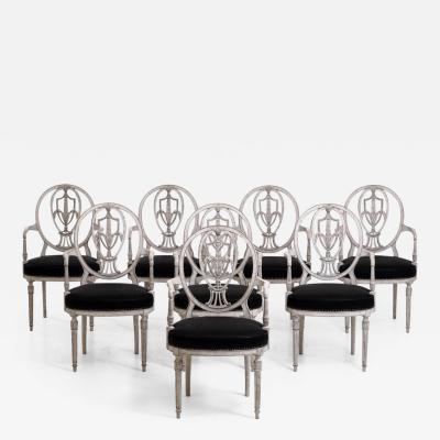 Set of 8 European armchairs in original horsehair seating richly carved