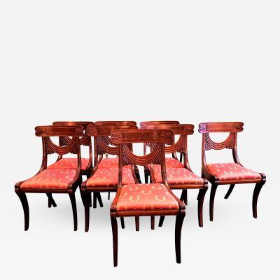 Set of 8 Handmade Mahogany Classical Mahogany Dining Chairs Circa 1825 Boston