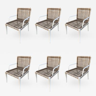Set of 8 Modern Armchairs in Powder Coated Steel Wicker