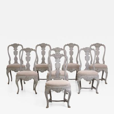 Set of 8 fine Rococo style chairs 19th Century