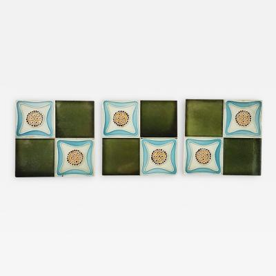 Set of 9 Glazed Art Deco Relief Tiles Muster 1930s