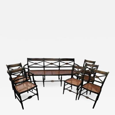 Set of American Hand Painted Caned Furniture Bench and Six Chairs