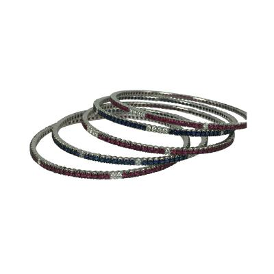 Set of Diamond Sapphire and Ruby Bangle Bracelets