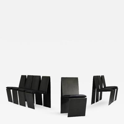 Set of Eight Anodized Steel Leather Dining Chairs