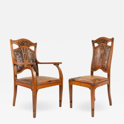 Set of Eight Belgian Art Nouveau Leather Chairs