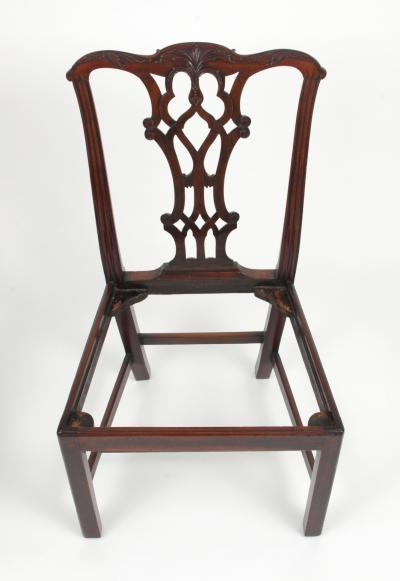 Set of Eight Chippendale Style Mahogany Dining Chairs 6 2 early 19th c