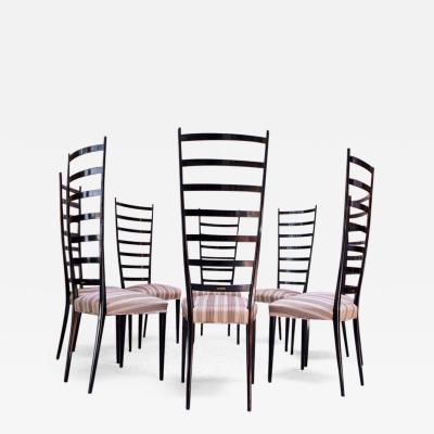 Set of Eight Ebonized Midcentury Italian Modern Tall Ladder Back Dining Chairs